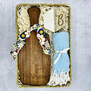 Blends of wood, marble & textured cotton not only make a visually beautiful gift, but these personal