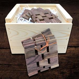 These dark colored rosewood and teak coasters are made from premium of hardwoods and are hand crafte