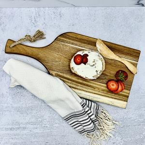 """The centerpiece of every dinner party or wine & cheese tasting, the Artisan 18"""" Acacia Serving Plank"""