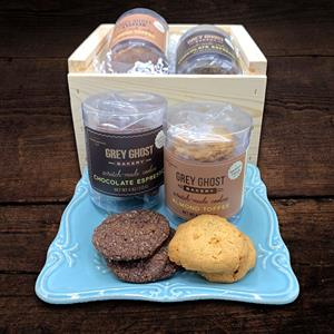 Enjoy two tubes of delicious cookies made by Grey Ghost Bakery. Chocolate Espresso cookies are a so