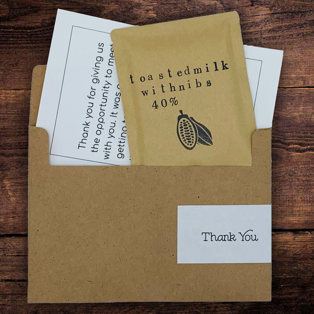 This small gift of chocolate is the perfect treat to send as a Thank You.  Paired with a personalize