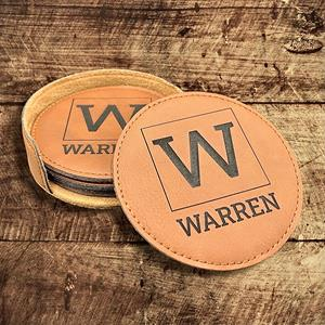 Personalized engraved leather coasters make a classic gift for anyone or any occasion. Six coasters