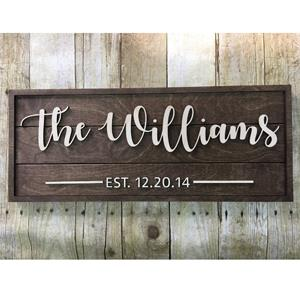 A personalized pallet sign with your client's name and EST date will be treasured forever.