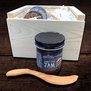 Jam Session-The stylish artisan gift of carrot cake jam together with a hand carved wood spreader is