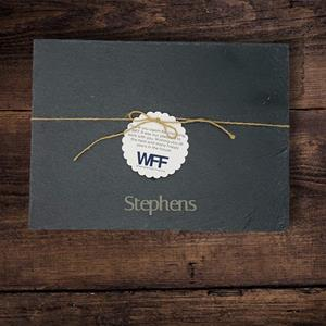 """Incorporate this 13 1/2"""" x 10"""" laser engraved rectangular black slate tray into your buffet or table"""