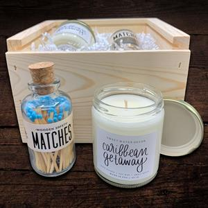The perfect gift to jump start relaxation awaits you inside this box.  These stylish blue matches ho