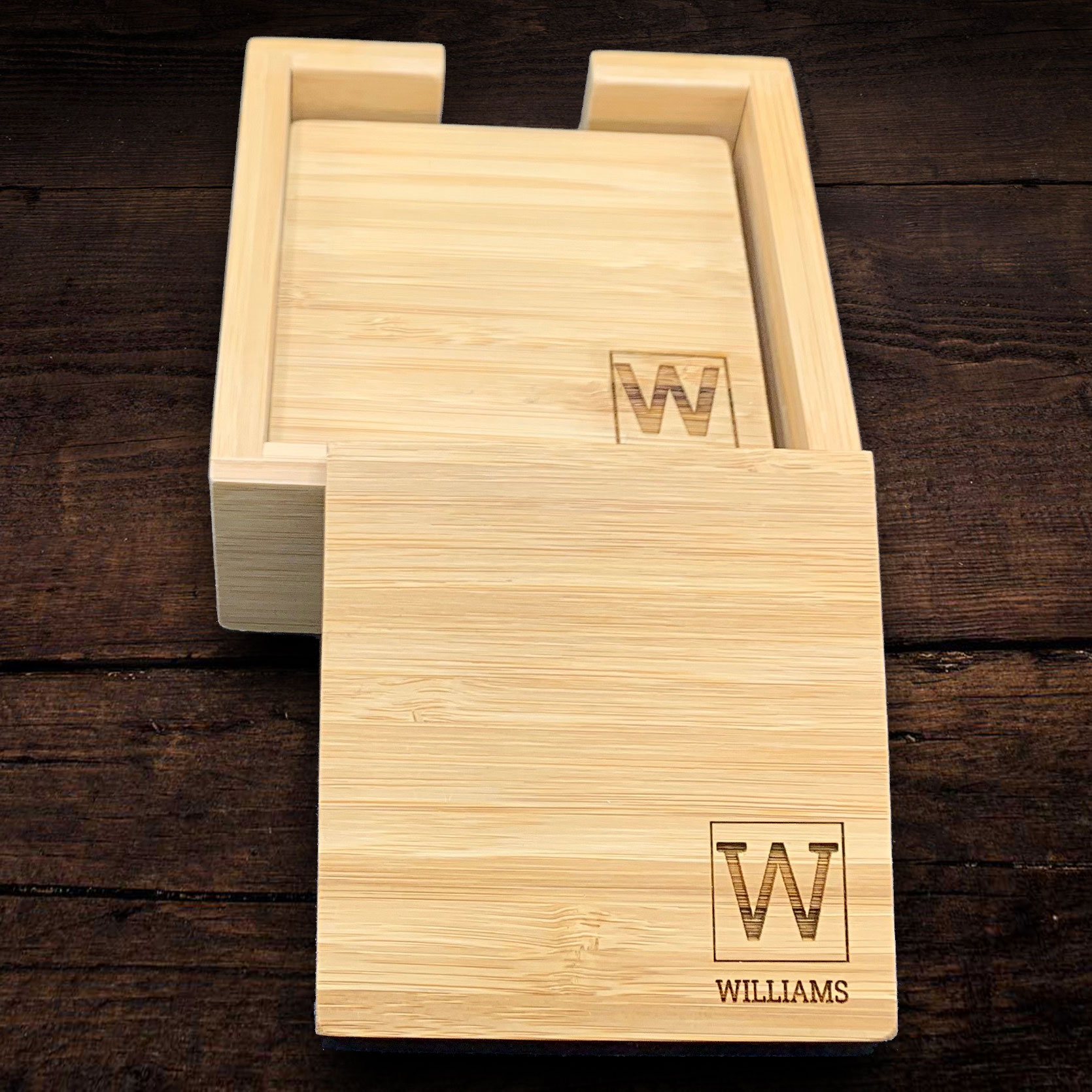 Personalized custom engraved bamboo coasters make the perfect gift for families and business people