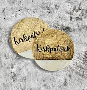 """At 1/2"""" thick, these marble and mango 4"""" round coasters make a nice gift for any occasion. Set of 4"""