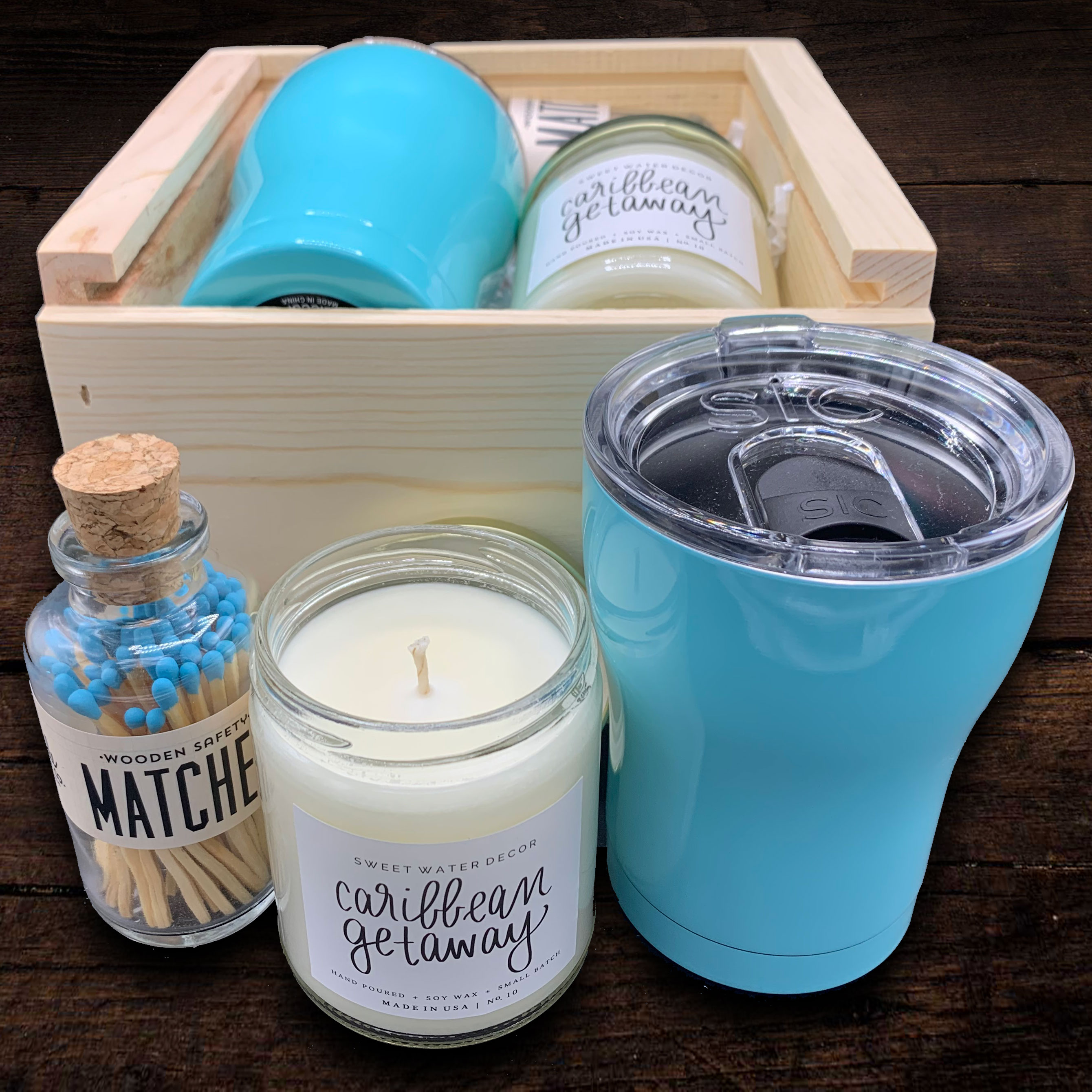 Fun-sized blue matches fill this vintage glass jar with cork lid.  This match bottle is not only fun