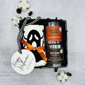 """Celebrate the fall season with this Boo-tiful box containing a handprinted """"Boo""""  tea towel and a do"""