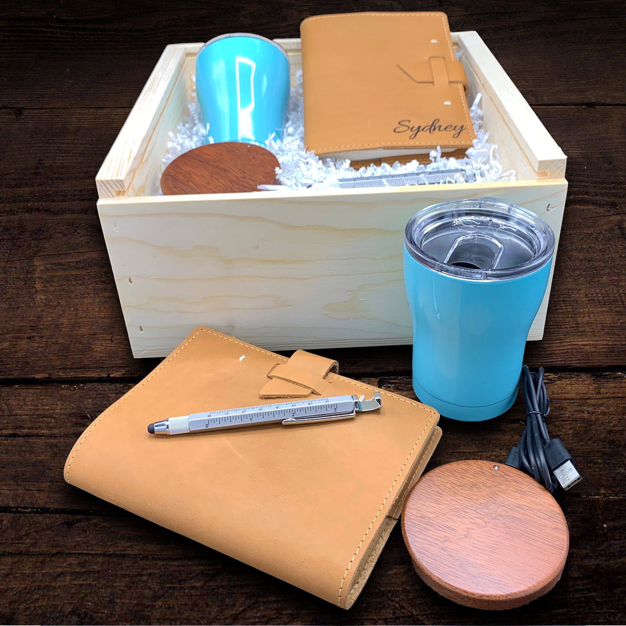 The perfect gift for the busy professional -this handcrafted notebook features top-grain leather wit