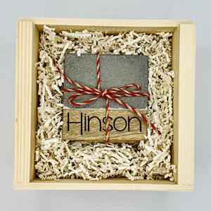 Perfect for home or office, this set of 4 cement and wood coasters can be personalized on the wooden