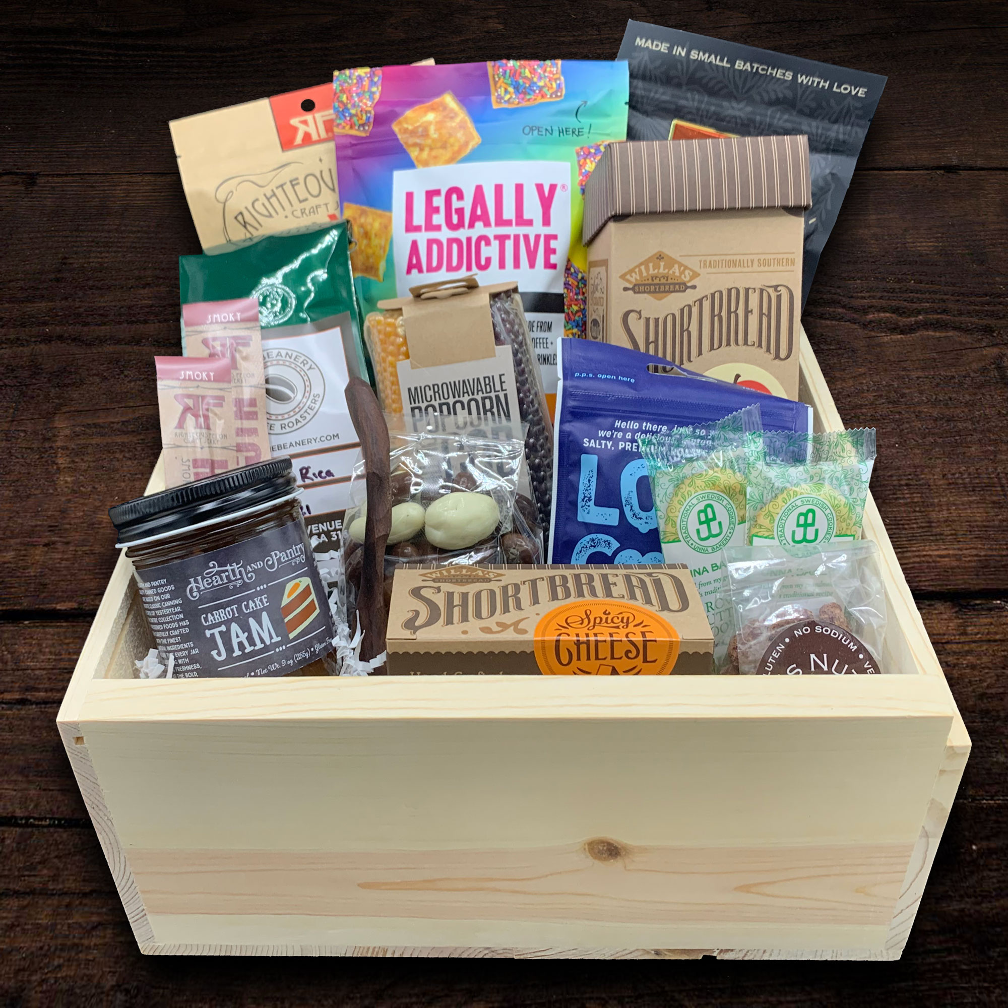 Send any company a variety of snacks to enjoy in their break room.    Engrave your logo on the box